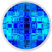 Round Beach Towel featuring the digital art Blue Bubble Glass by Anita Lewis