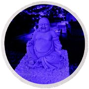 Blue Buddha And The Blue City Round Beach Towel