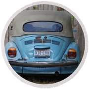 Blue Bug Round Beach Towel by Debi Demetrion