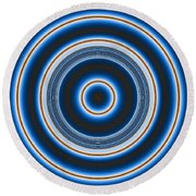 Blue Bull's Eye Round Beach Towel