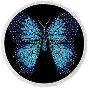 Blue Butterfly Black Background Round Beach Towel