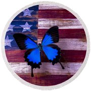 Blue Butterfly On American Flag Round Beach Towel