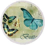 Blue Butterfly - S55c01 Round Beach Towel