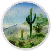 Blue Cactus Round Beach Towel by Jamie Frier