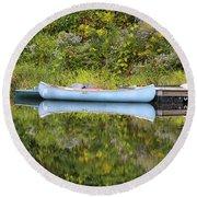 Blue Canoe Round Beach Towel