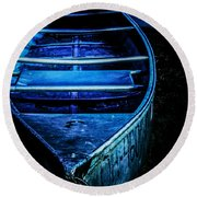 Blue Canoe Round Beach Towel