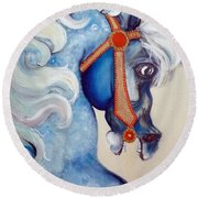 Blue Carousel Round Beach Towel