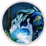 Blue Carousel Horse Round Beach Towel