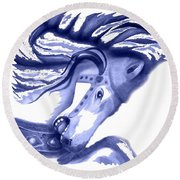 Blue Carrousel Horse Round Beach Towel
