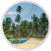 Blue Catamaran At A Beach With Coconut Palm Trees Round Beach Towel