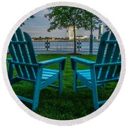 Blue Chairs Round Beach Towel