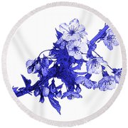 Round Beach Towel featuring the photograph Blue Cherry by Jane McIlroy