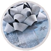 Blue Christmas Gift Round Beach Towel