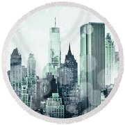 Blue City Beams Round Beach Towel