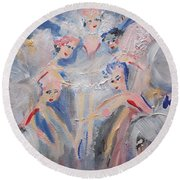 Round Beach Towel featuring the painting Blue Clouds The Ballet by Judith Desrosiers