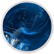 Blue Coral Melody - Fantasy Art By Giada Rossi Round Beach Towel