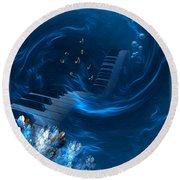 Round Beach Towel featuring the digital art Blue Coral Melody - Fantasy Art By Giada Rossi by Giada Rossi