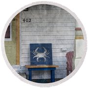 Blue Crab Chair Round Beach Towel