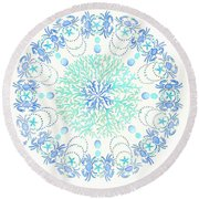 Blue Crab Mandala 5 Round Beach Towel by Stephanie Troxell