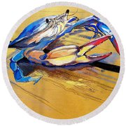 Blue Crabbie  Round Beach Towel