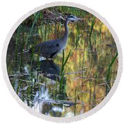 Blue Crane Round Beach Towel