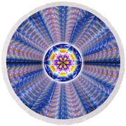 Round Beach Towel featuring the drawing Blue Crystal Consciousness by Derek Gedney