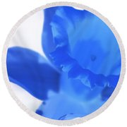 Round Beach Towel featuring the photograph Blue Daffodil by Andy Prendy