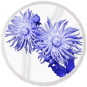 Round Beach Towel featuring the photograph Blue Dahlia by Jane McIlroy