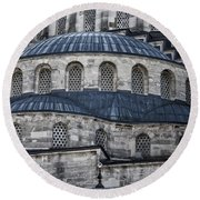 Blue Dawn Blue Mosque Round Beach Towel by Joan Carroll