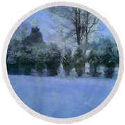 Blue Dawn Round Beach Towel by RC deWinter