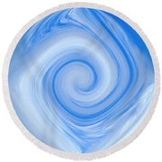 Blue Design Round Beach Towel