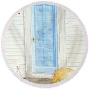 Blue Door With Pumpkin Round Beach Towel