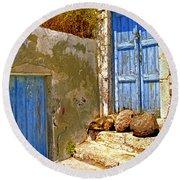 Blue Doors Of Santorini Round Beach Towel