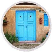 Blue Doors Of Taos Round Beach Towel