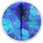 Blue Dragonfly By Sharon Cummings Round Beach Towel