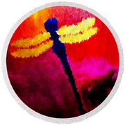 Round Beach Towel featuring the painting Blue Dragonfly No 2 by Anita Lewis
