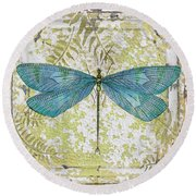 Blue Dragonfly On Vintage Tin Round Beach Towel by Jean Plout