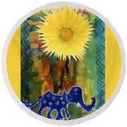 Blue Elephant In The Rainforest Round Beach Towel