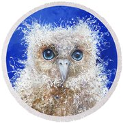 Blue Eyed Owl Painting Round Beach Towel
