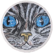 Blue Eyed Stripped Cat Round Beach Towel