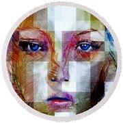 Blue Eyes Girl Round Beach Towel by Rafael Salazar