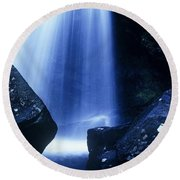 Round Beach Towel featuring the photograph Blue Falls by Rodney Lee Williams