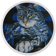 Blue Feline Geometry Round Beach Towel
