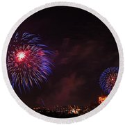 Blue Fireworks Over Domino Sugar Round Beach Towel