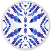 Blue Floral Pattern IIi Round Beach Towel