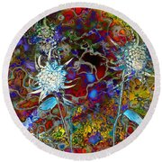 Blue Flower Abstract Round Beach Towel by rd Erickson