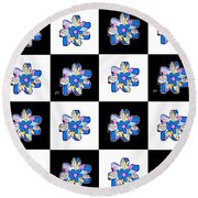 Blue Flower Dance Round Beach Towel