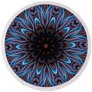 Round Beach Towel featuring the digital art Blue Flower by Lilia D