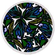 Round Beach Towel featuring the digital art Blue Flowers by Elizabeth McTaggart