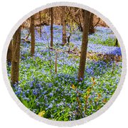 Blue Flowers In Spring Forest Round Beach Towel